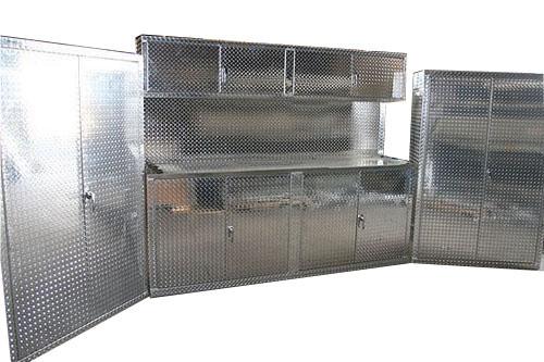 3 Piece 8' Diamond Plate Cabinet Set