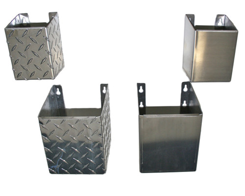 Fire Extinguisher Holder Collection, available in two sizes and three materials, Diamond Plate Aluminum, Smooth Aluminium and Stainless Steel Diamond Plate and Aluminum shown here