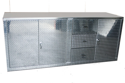 Diamond Plate Cabinet with Drawers