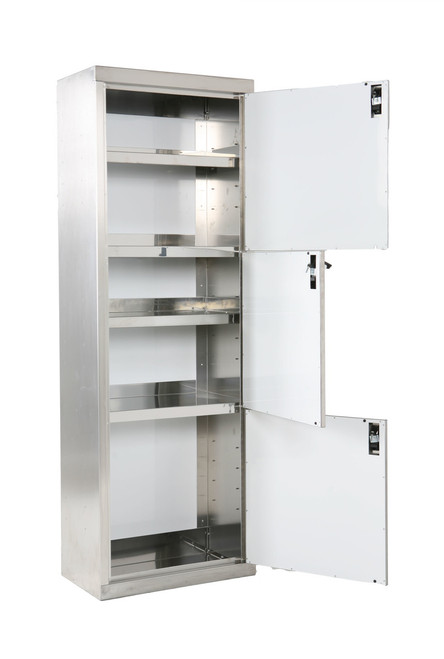 Stainless Steel Triple Stack Cabinet, Inside View 1 x 3 Doors