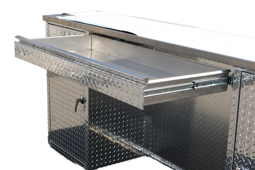 Man Cave Diamond Plate Service Desk with Brushed Stainless Top, Two Cabinets and Top Drawer