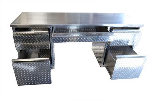 5 Drawer Diamond Plate Desk, .090 Aluminum Top