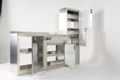 Two Stainless Steel Base Cabinets and a Closet