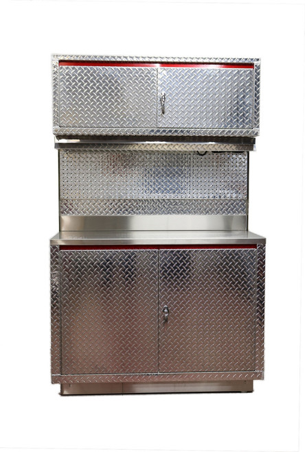 Diamond Plate 4ft Base and Upper Cabinet, Shown with light and peg board