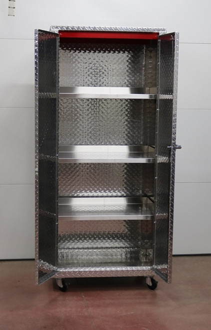 Diamond Plate Daytona Mini Storage Locker Open