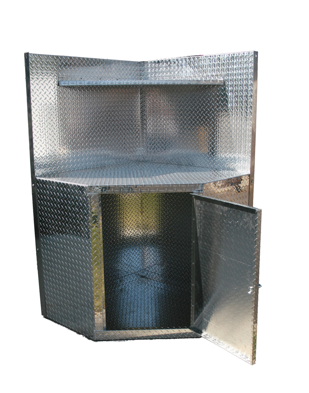 Corner Cabinet with Open Door made from Diamond Plate