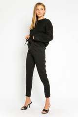 Alissa Belted Paperbag Pants in Black