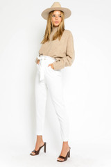 Alissa Belted Paperbag Pants in White