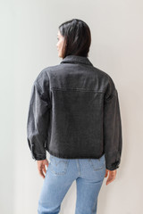 The Amelia Vintage Washed Denim jacket is perfect for your fall transitional wardrobe; you will be all-over cozy in this oversized denim piece with large outer pockets and plaid fleece interior lining.1