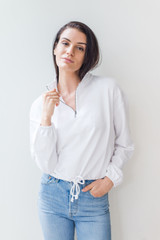 This trip white half zip is all the rage right now.  A trendy, waist length Terry sweater sweatshirt features a full length sleeve and a mock neck.  Pair it with jeans, leggings, or sweats.  Easily the most versatile sweater of the season.  Model is 5'9 and wearing a size small.