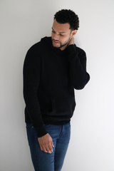 Alex Shaker Knit Hooded Crewneck Sweater in Black