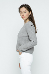 Avery Pointelle Knit Puff Sleeve Sweater in Heather Grey