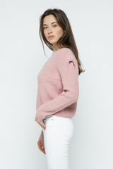 Avery Pointelle Knit Puff Sleeve Sweater in Mauve