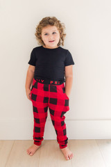 PRIV Signature Kids Buffalo Check Lounge Set in Black/Red