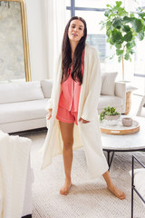 Meet PRIV's brand new collection, The LUXE brand!  The ultimate in cozy luxury, this range of bath robes and oversized blankets will be the ultimate gift for any occasion.  This Cardi-robe is exactly that. Cut like a straight, drapes cardigan, but wraps like a robe.  This equals an elevated robe, that's perfect for lounging all weekend long!  Cozy up in the robe of your dreams!  100% Polyester, Delicate cold water wash, hang to dry.