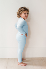 Kids Sundays Ribbed Henley Sleep Set in Sky Blue