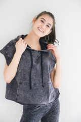 Caladium Sleeveless Hooded French Terry Pullover in Black Acid Wash