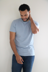 Horizontal Rib Textured Jersey Tee in Light Blue Melange