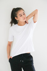 Aspen Boxy Fit Pullover Basic Crew in White