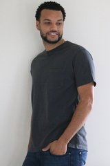 Madrone Boxy Pocketed Crew Tee in Black Ash
