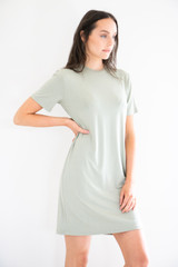 The Elevated T-Shirt Dress in Soft Sage