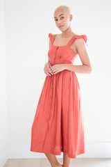 The Lucy Linen Button Up Midi Dress in Copper