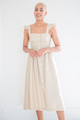 The Lucy Linen Button Up Midi Dress in Sand