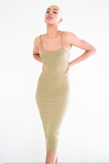 The Rowe Ribbed Midi Dress in Olive