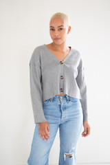Chloè Crop Ribbed Long Sleeve Button Down Cardigan in Heather Grey