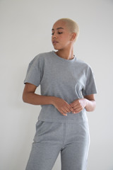 Nessa Boxy Fit Terry Cotton Short Sleeve Tee in Textured Grey