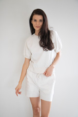 This soft casual sweat short features an elasticated waist with drawstring. Made from soft, lightweight cotton in two feminine pastel tones. Easy to pair with your favourite sneakers and tee.