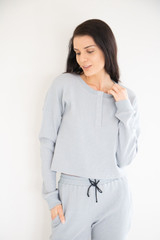 Made from a breathable mid weight textured cotton fabric, with high quality durable snap button hardware. Easy to lounge in and to dress up layered under your favourite jacket or bomber. Made to pair with the Waffle Lounge Pant in Cream or Cloud Blue.