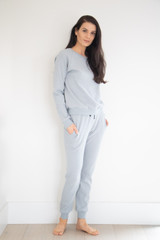 Made from a breathable mid weight textured cotton fabric, with a simple and minimalist finish. Easy to lounge in and to dress up layered under your favourite jacket or bomber. Made to pair with the Waffle Lounge Pant in Cream or Cloud Blue.