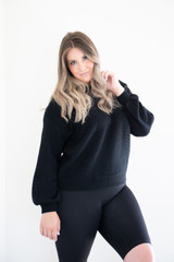 An evolution of the ottoman sweater, Maeve fits only slightly oversized, with ribbed, soft fabric. Slightly ballooned sleeves, drop shoulders and thick ribbing along the wrist and waist elevate your look with a french tuck, or simply wear with your favourite denim for an outfit that's effortless.
