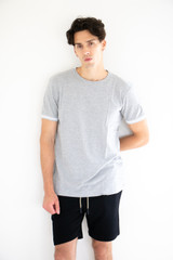 Elevated Woven Fitted Shirt in Heather Grey