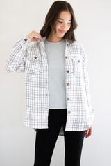 Bella Mid Length Shirt Jacket in Cream Plaid