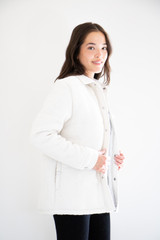 Rory Mid-Length Puffer Shirt-Jacket in Cream