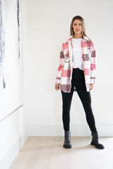 Mid Length Button Down Knit Coat in Pale Pink