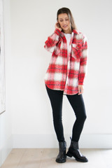 Mid Length Brushed Collared Coat in Red Plaid