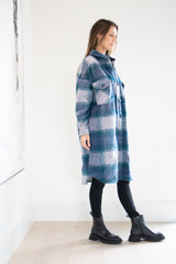 Full Body Brushed Collared Jacket in Sea Blue