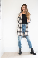 Full Body Brushed Collared Jacket in Sand Plaid