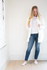 Plush Button Down Faux Fur Coat in Winter White