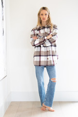Mid Length Button Down Collared Jacket in Plum Plaid