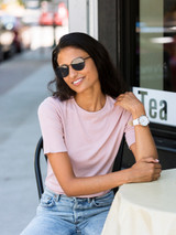 Closer Ribbed Short Sleeve Tee in Soft Rose