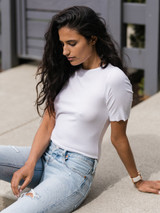 Closer Ribbed Short Sleeve Tee in White