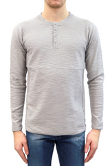 Mens Slub Henley Sweater in Solid Grey