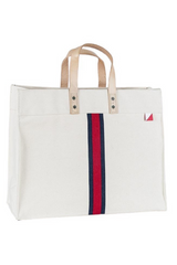 One of our best-selling totes now updated with a classic stripe design. Our durable signature heavyweight cotton canvas makes it strong and sturdy to carry all your essentials everyday.