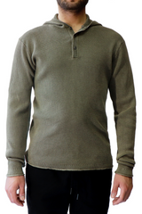 The Terrace Waffle Hooded Henley in Burnt Olive