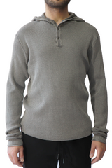 The Terrace Waffle Hooded Henley in Grey Heather