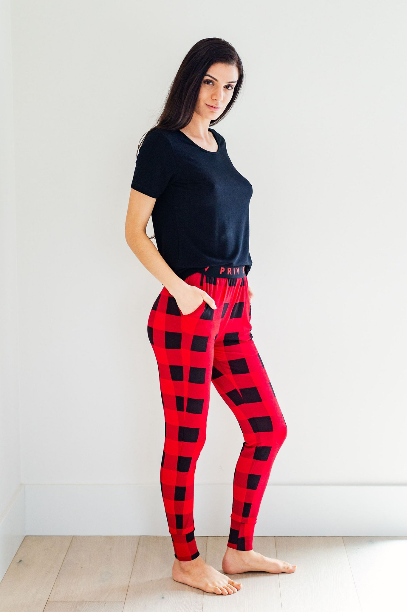 Cozy up in our exclusive buffalo check lounge collection for the whole family. Made from our signature buttery french terry that you know and love, get your hands on these sets while you can! This set pairs perfectly with our basic tee collections for the ultimate in stylish lounge-ability. 95% modal 5% spandex, Machine wash cold, Hang to dry
